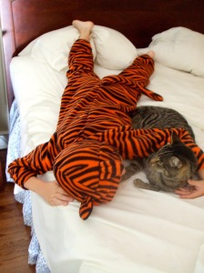 tiger boy and his tiger cat
